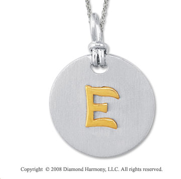 18k Yellow Gold Sterling Silver E Initial Disk Pendant