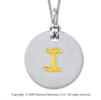 18k Yellow Gold Sterling Silver I Initial Disk Pendant