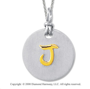 18k Yellow Gold Sterling Silver J Initial Disk Pendant