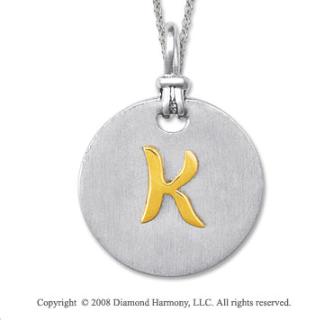 18k Yellow Gold Sterling Silver K Initial Disk Pendant