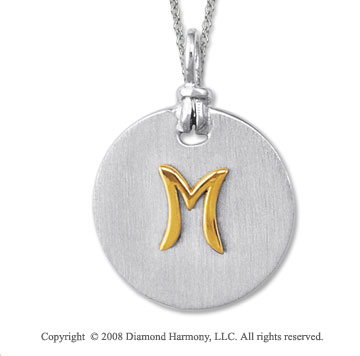 18k Yellow Gold Sterling Silver M Initial Disk Pendant