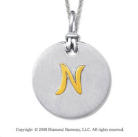 18k Yellow Gold Sterling Silver N Initial Disk Pendant