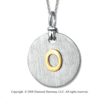 18k Yellow Gold Sterling Silver O Initial Disk Pendant