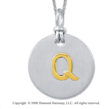 18k Yellow Gold Sterling Silver Q Initial Disk Pendant