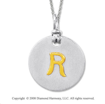 18k Yellow Gold Sterling Silver R Initial Disk Pendant