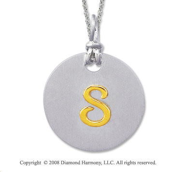 18k Yellow Gold Sterling Silver S Initial Disk Pendant