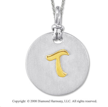 18k Yellow Gold Sterling Silver T Initial Disk Pendant