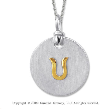 18k Yellow Gold Sterling Silver U Initial Disk Pendant