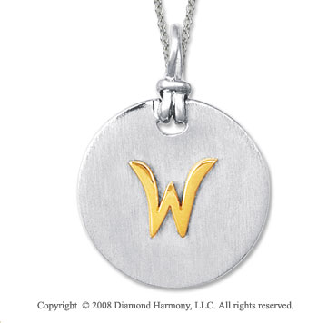 18k Yellow Gold Sterling Silver W Initial Disk Pendant