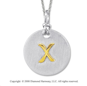 18k Yellow Gold Sterling Silver X Initial Disk Pendant