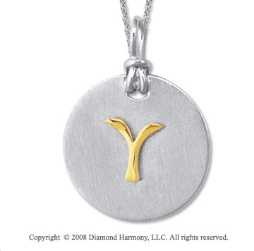 18k Yellow Gold Sterling Silver Y Initial Disk Pendant