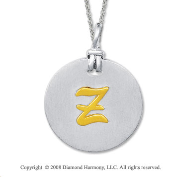 18k Yellow Gold Sterling Silver Z Initial Disk Pendant