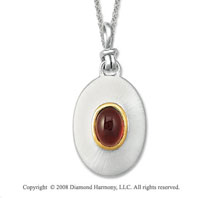 18k Yellow Gold Sterling Silver January/ Garnet Disk Pendant