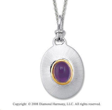 18k Yellow Gold Sterling Silver February/ Amethyst Disk Pendant