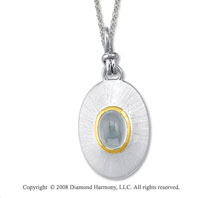 18k Yellow Gold Sterling Silver March/ Aquamarine Disk Pendant