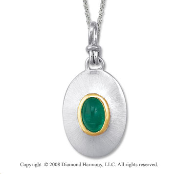18k Yellow Gold Sterling Silver May/ Created Emerald Disk Pendant