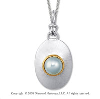 18k Yellow Gold Sterling Silver June/ Pearl  Disk Pendant
