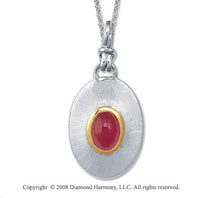 18k Yellow Gold Sterling Silver July/ Created Ruby Disk Pendant