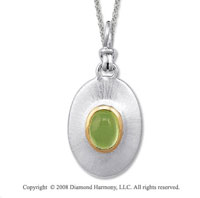 18k Yellow Gold Sterling Silver August/ Peridot Disk Pendant