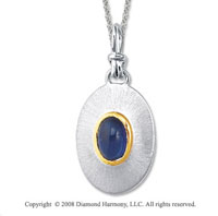18k Yellow Gold Sterling Silver September/Created Sapphire Disk Pendant