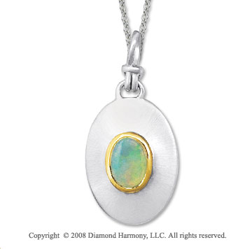 18k Yellow Gold Sterling Silver Otober/ Opal Disk Pendant