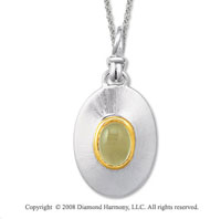 18k Yellow Gold Sterling Silver November/ Citrine Disk Pendant