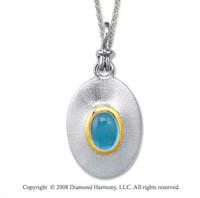 18k Yellow Gold Sterling Silver December/ Blue Topaz Disk Pendant
