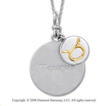 18k Yellow Gold Sterling Silver Taurus Zodiac Disk Pendant