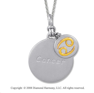 18k Yellow Gold Sterling Silver Cancer Zodiac Disk Pendant