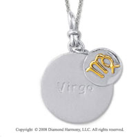 18k Yellow Gold Sterling Silver Virgo Zodiac Disk Pendant