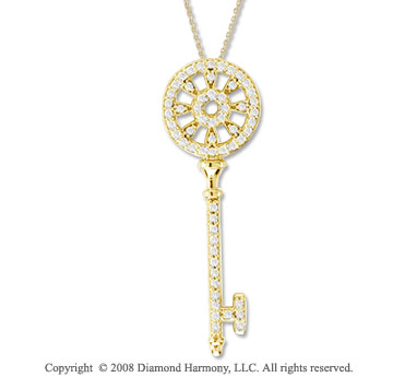 14k Yellow Gold 1/3 Carat Diamond Medium  Key Pendant