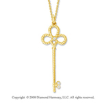 14k Yellow Gold Diamond Medium  Key Pendant