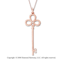 14k Rose Gold Diamond Medium  Key Pendant