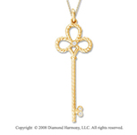 14k Yellow Gold Diamond Large  Key Pendant