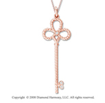 14k Rose Gold Diamond Large  Key Pendant