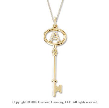 14k Yellow Gold Large Initial A Diamond Key Pendant