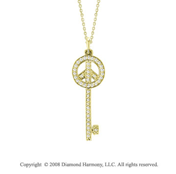 14k Yellow Gold Medium 2/5 Carat Diamond Peace Sign Key Pendant