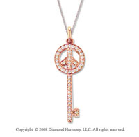 14k Rose Gold Medium 2/5 Carat Diamond Peace Sign Key Pendant