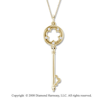 14k Yellow Gold Medium Diamond Flower Key Pendant