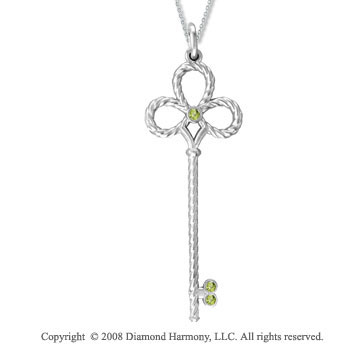 Sterling Silver Peridot/ August Birthstone Large Key Pendant
