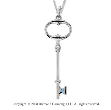 Sterling Silver Blue Topaz/ December Birthstone Large Key Pendant