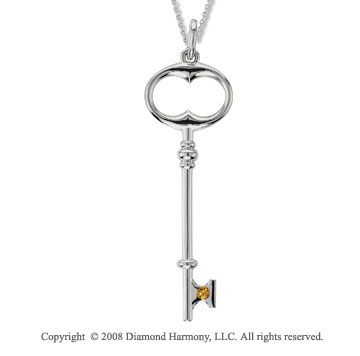 Sterling Silver Citrine/ November Birthstone Large Key Pendant