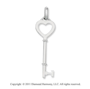 Sterling Silver 1 3/4 Inch Heart Key Pendant