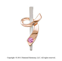 14k Two Tone Gold Pink Sapphire Ribbon of Courage Awareness Pendant