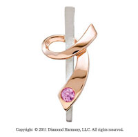 Large 14k Two Tone Gold Pink Sapphire Ribbon of Courage Awareness Pendant