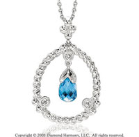 Diamond & Blue Topaz 14k White Gold Pendant