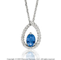 0.85  Carat 14k Diamond Blue Sapphire Tear Drop Pendant Necklace