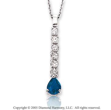 Diamond & Blue Sapphire Drop 14k White Gold Pendant