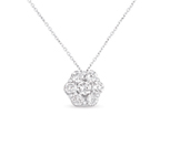 14kt White Gold 1/4 Carat Solitaire Diamond Cluster Pendant