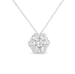 14kt White Gold 3/4 Carat Solitaire Diamond Cluster Pendant